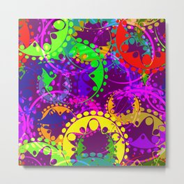 Texture of bright colorful gears and laurel wreaths in kaleidoscope style on a lilac background. Metal Print