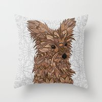 yorkie Throw Pillows featuring Cute Yorkie by ArtLovePassion
