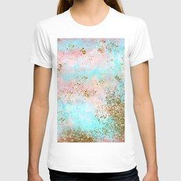Pink and Gold Mermaid Sea Foam Glitter T-shirt