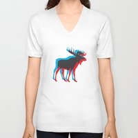 moose V-neck T-shirts featuring Moose by BMaw