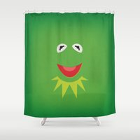 kermit Shower Curtains featuring The Muppets Show Vintage Art Kermit the Frog Retro Style Minimalist Poster Print by The Retro Inc