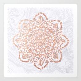 Rose Gold Mandala on White Marble Art Print