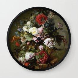 Vintage Floral Still Life Painting Wall Clock