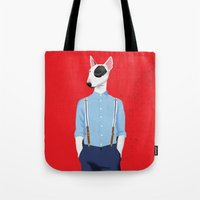bull terrier Tote Bags featuring Skinhead Bull Terrier by drawgood
