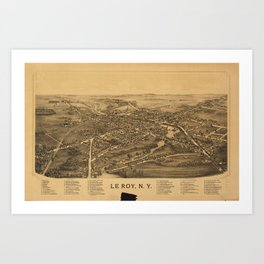 Aerial View of Le Roy, New York (1892) Art Print