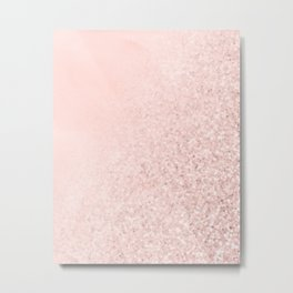 She Sparkles Rose Gold Pastel Pink Luxe Geometric Metal Print