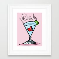 drink Framed Art Prints featuring Drink by Art In The Garage