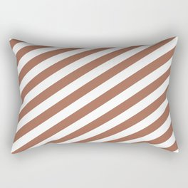 Sherwin Williams Cavern Clay SW7701 & White Stripes Fat Angled Lines - Stripe Pattern Rectangular Pillow