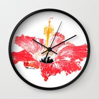 hibiscus Wall Clocks featuring Hibiscus by Regan's World