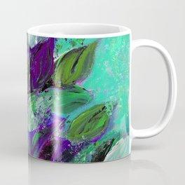 BLOOMING BEAUTIFUL 1 - Floral Painting Mint Green Seafoam Purple White Leaves Petals Summer Flowers Coffee Mug