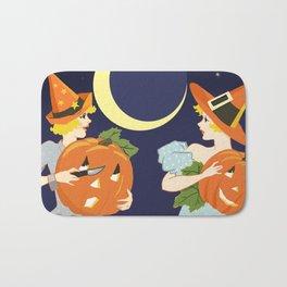 Vintage Halloween Costume Party Pumpkin Carving Bath Mat