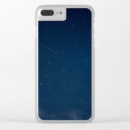 Blue Night Sky With Palm Trees And Stars Clear iPhone Case