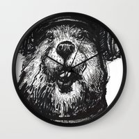 beaver Wall Clocks featuring Mr. Beaver by Mitzek
