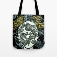 sneaker Tote Bags featuring Sneaker Head by lilbudscorner