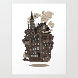 Flying city. Art Print