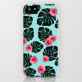 Tropical pattern n.1 - pale blue iPhone Case
