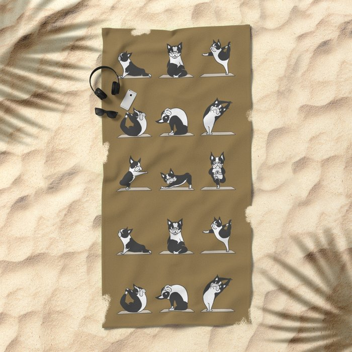 Boston Terriers Yoga Beach Towel