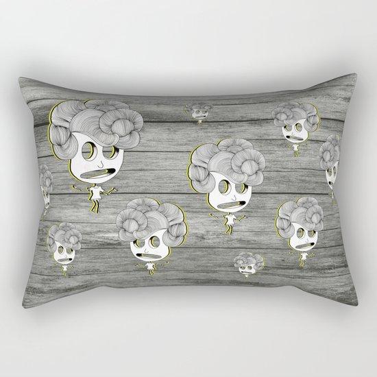 headache wood girl Rectangular Pillow