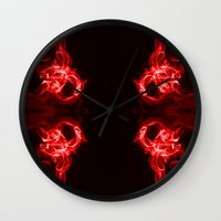 headphones Wall Clocks featuring Red Headphones by Steve Purnell