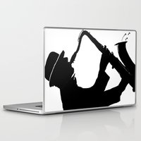 saxophone Laptop & iPad Skins featuring The Saxophone Man   by Queenmissy