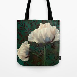 Poppies en Verdigris Tote Bag