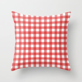 Thick Red on White Gingham Squares Throw Pillow