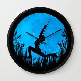 Yoga Moon Posture - Blue Wall Clock