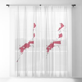 Japanese Map and Flag Sheer Curtain