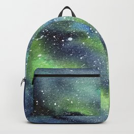 Galaxy Nebula Watercolor Northern Lights Aurora Borealis Backpack