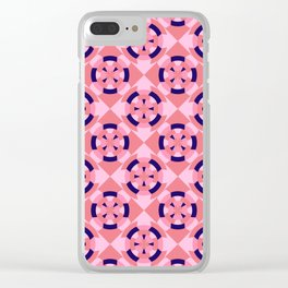 Simple geometric boat helm in blue and pink Clear iPhone Case