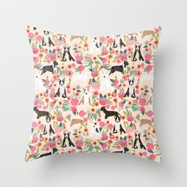 Bull Terrier dog breed pattern florals dog lover gifts pet friendly designs Throw Pillow