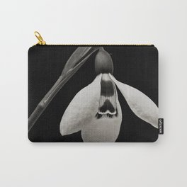 Snowdrop blossoms floral black and white photography / photograph Carry-All Pouch