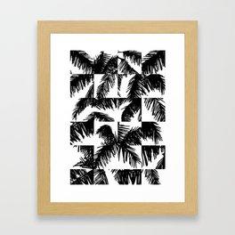 Palm Leaf Pattern Black Framed Art Print