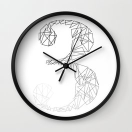 ''Geometry Collection'' - Minimal Number Three Print Wall Clock