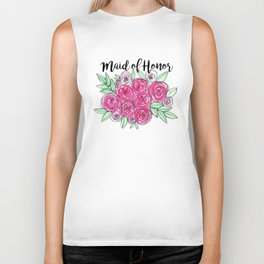 Maid of Honor Wedding Pink Roses Watercolor Biker Tank
