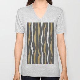 Abstract Minimal Wavy Lines 6 Unisex V-Neck