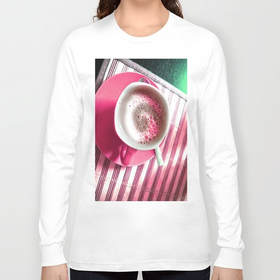 Coffee in Pink Long Sleeve T-shirt