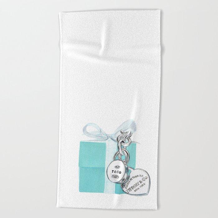 Blue Jewelry Box Beach Towel
