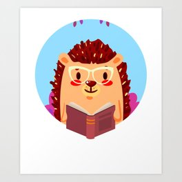 Adorable Hedgehog Book Nerd Shirt  Cute Pun Animal Art Print