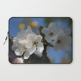 Close Up Of White Cherry Blossom Flowers Laptop Sleeve