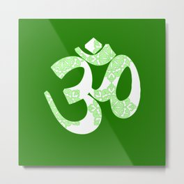 Start your day with OM on Green Colour Metal Print