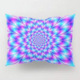 Neon Rosette in Blue and Pink Pillow Sham