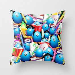 Back to School Cute Blue Birds Throw Pillow