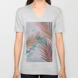 Palms + Sky, Tropical Nature Botanical Travel, Eclectic Graphic Bohemian Blush Clouds Unisex V-Neck