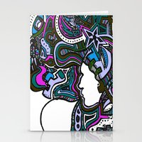 techno Stationery Cards featuring Purple Techno by Madison R. Leavelle