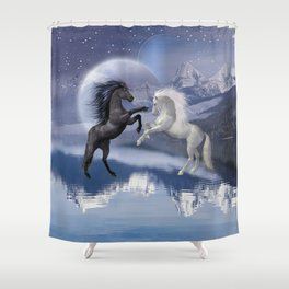 Horses and Moon Shower Curtain