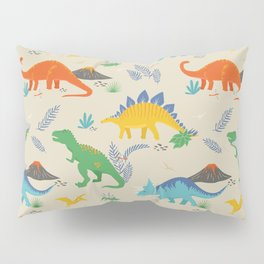 Jurassic Dinosaurs in Primary Colors Pillow Sham