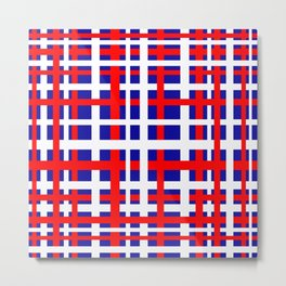 Patriotic Interlocking Stripes Metal Print