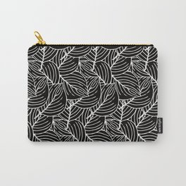 Simple Leaves Pattern - White on Black - Mix & Match with Simplicity of life Carry-All Pouch