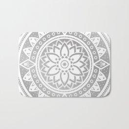 Silver & White Patterned Flower Mandala Bath Mat